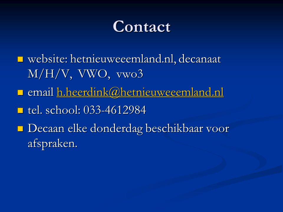 Contact website: hetnieuweeemland.nl, decanaat M/H/V, VWO, vwo3