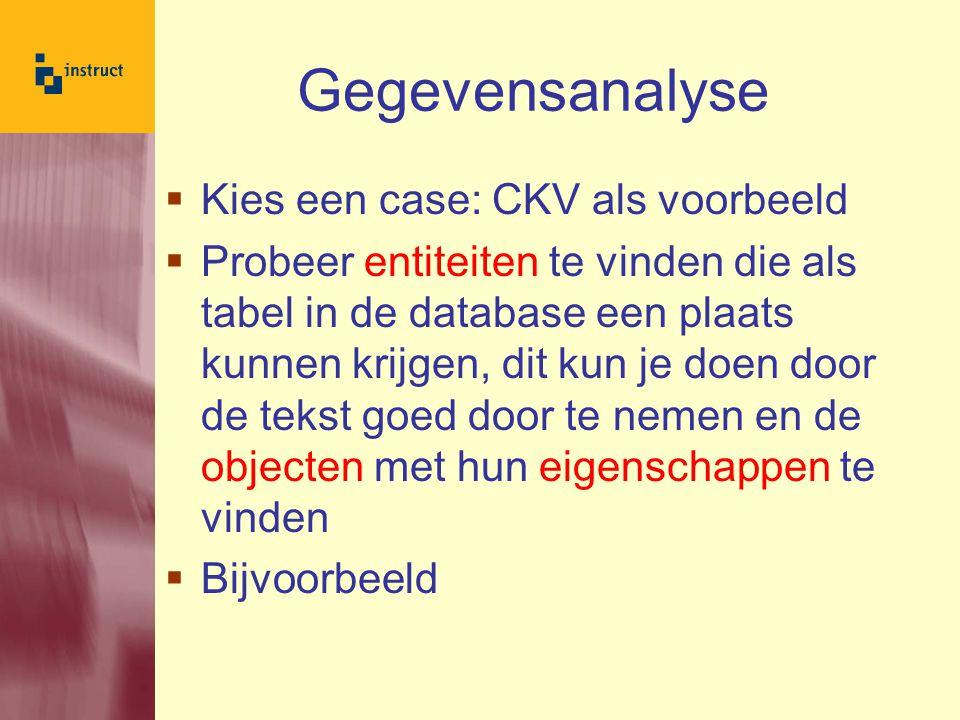 Gegevensanalyse Kies een case: CKV als voorbeeld
