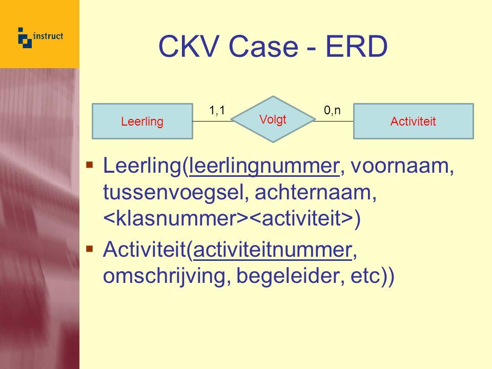 CKV Case - ERD Leerling(leerlingnummer, voornaam, tussenvoegsel, achternaam, <klasnummer><activiteit>)