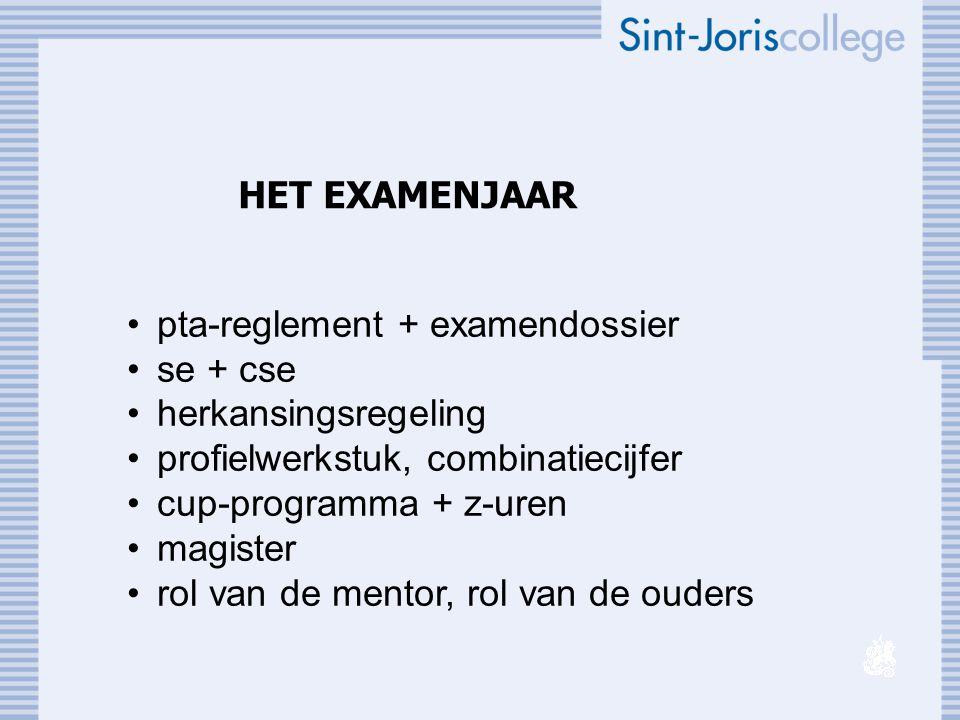 HET EXAMENJAAR pta-reglement + examendossier. se + cse. herkansingsregeling. profielwerkstuk, combinatiecijfer.