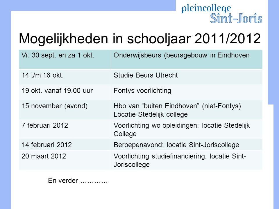Mogelijkheden in schooljaar 2011/2012