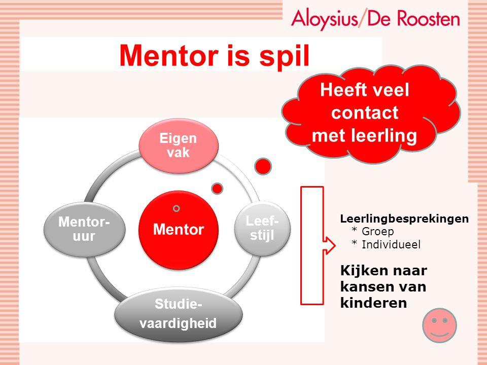 Mentor is spil Heeft veel contact met leerling Eigen vak Leef-stijl