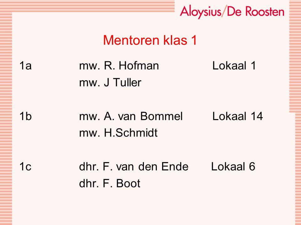 Mentoren klas 1 1a mw. R. Hofman Lokaal 1 mw. J Tuller 1b mw.