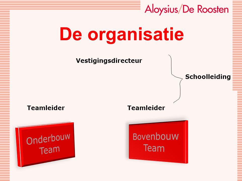 De organisatie Bovenbouw Onderbouw Team Team Vestigingsdirecteur