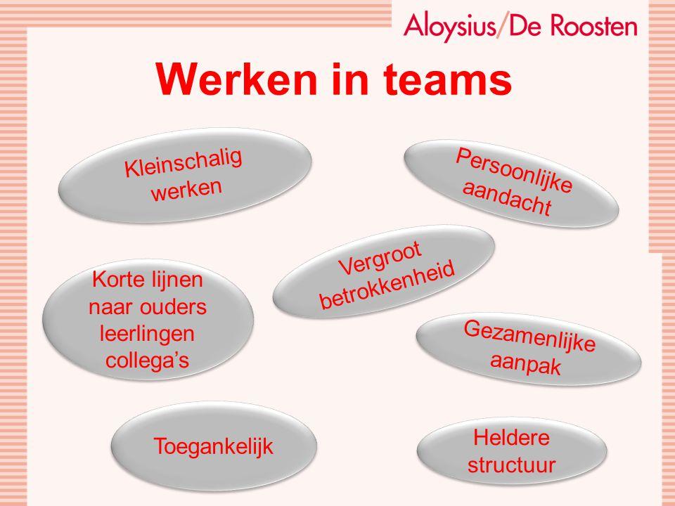 Werken in teams Kleinschalig werken Persoonlijke aandacht