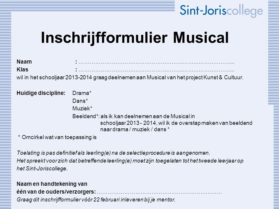 Inschrijfformulier Musical