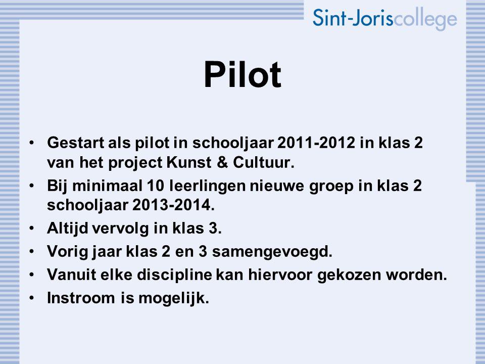 Pilot Gestart als pilot in schooljaar 2011-2012 in klas 2 van het project Kunst & Cultuur.