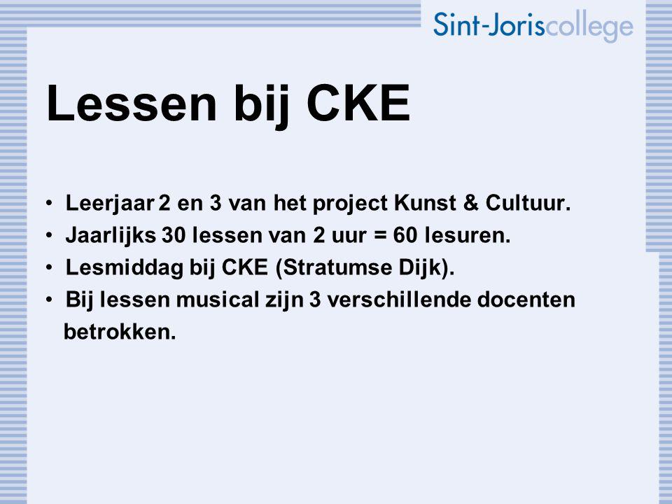 Lessen bij CKE Leerjaar 2 en 3 van het project Kunst & Cultuur.