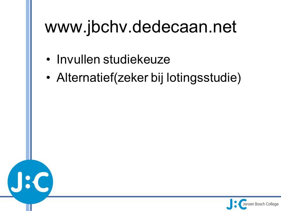 www.jbchv.dedecaan.net Invullen studiekeuze