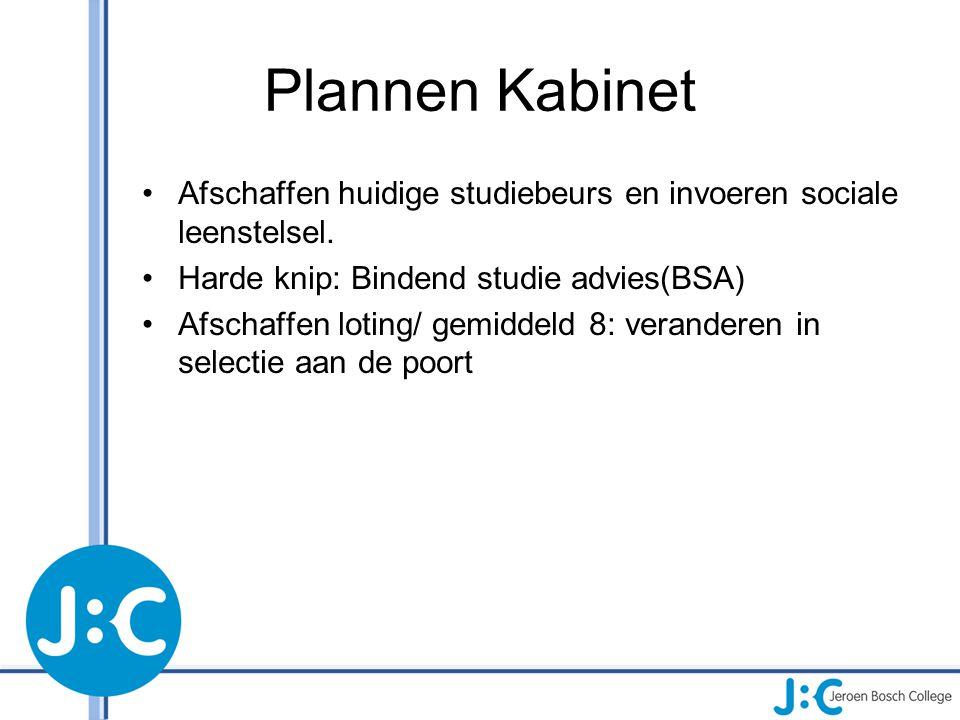 Plannen Kabinet Afschaffen huidige studiebeurs en invoeren sociale leenstelsel. Harde knip: Bindend studie advies(BSA)