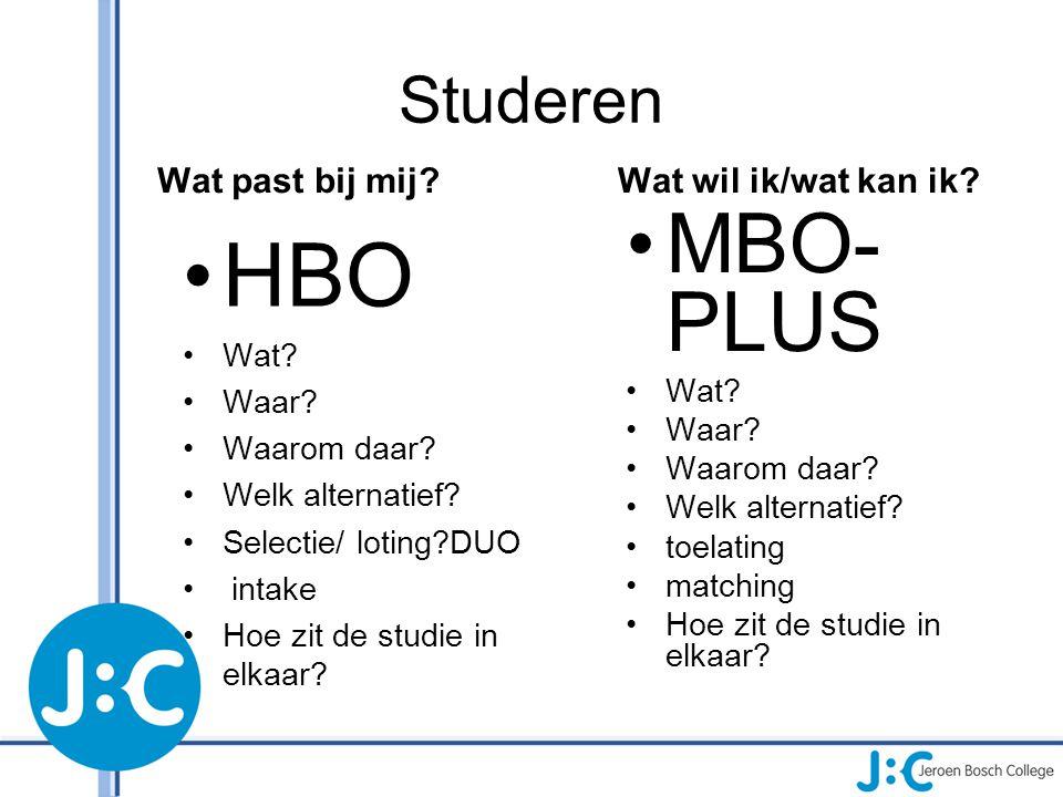 HBO MBO-PLUS Studeren Wat past bij mij Wat wil ik/wat kan ik Wat