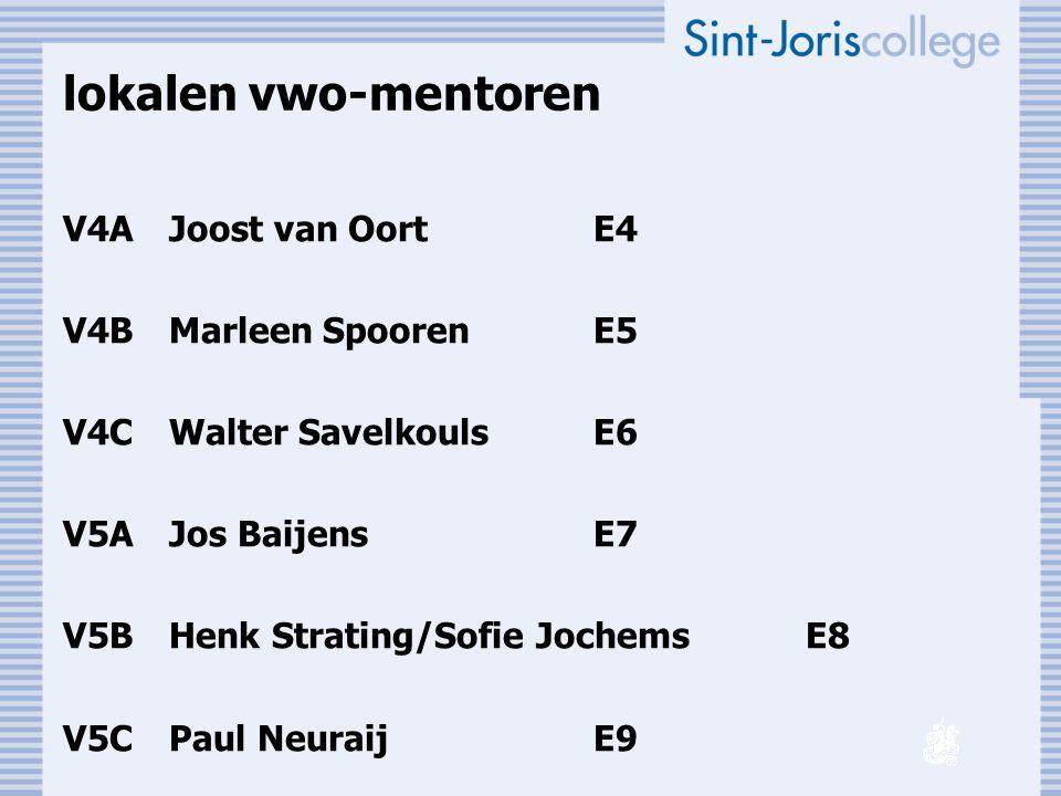 lokalen vwo-mentoren V4A Joost van Oort E4 V4B Marleen Spooren E5