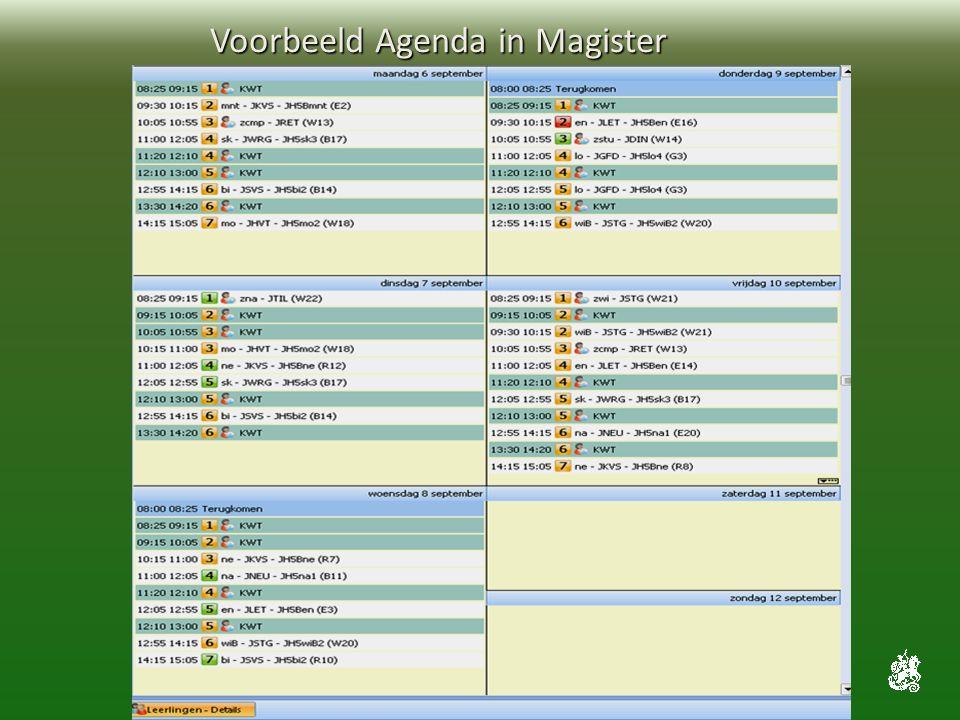 Voorbeeld Agenda in Magister