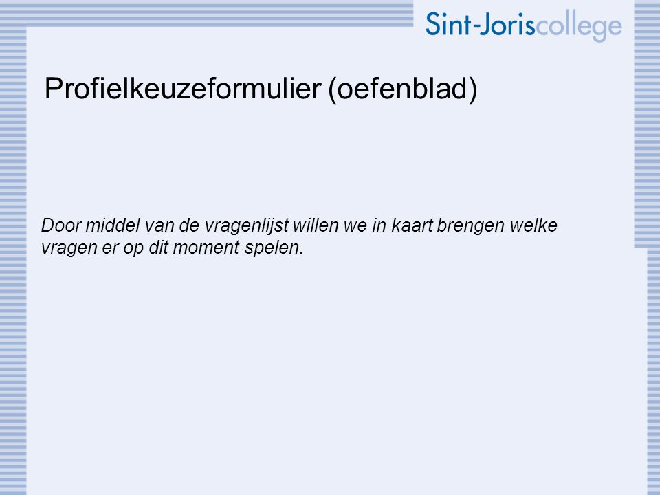 Profielkeuzeformulier (oefenblad)