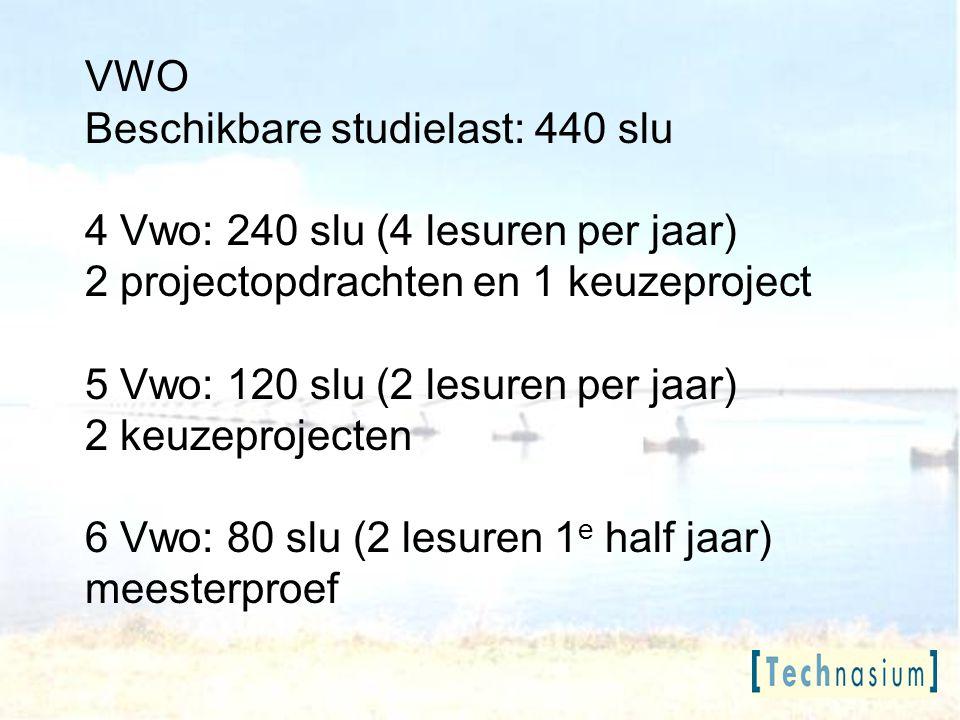 VWO Beschikbare studielast: 440 slu. 4 Vwo: 240 slu (4 lesuren per jaar) 2 projectopdrachten en 1 keuzeproject.