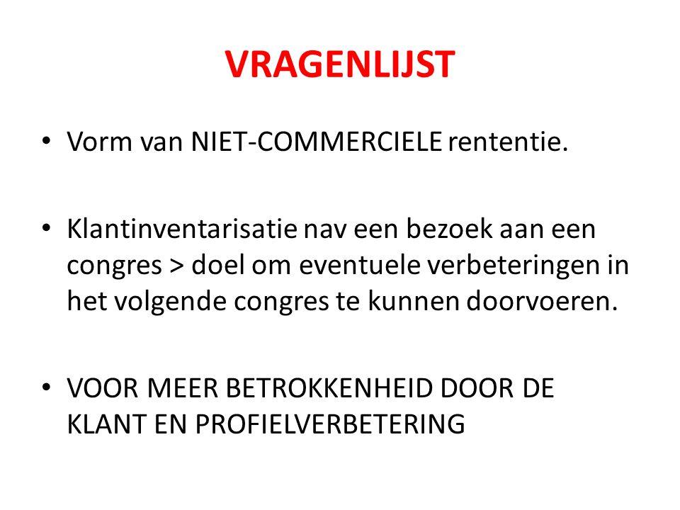 VRAGENLIJST Vorm van NIET-COMMERCIELE rententie.