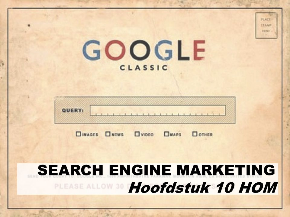 SEARCH ENGINE MARKETING Hoofdstuk 10 HOM