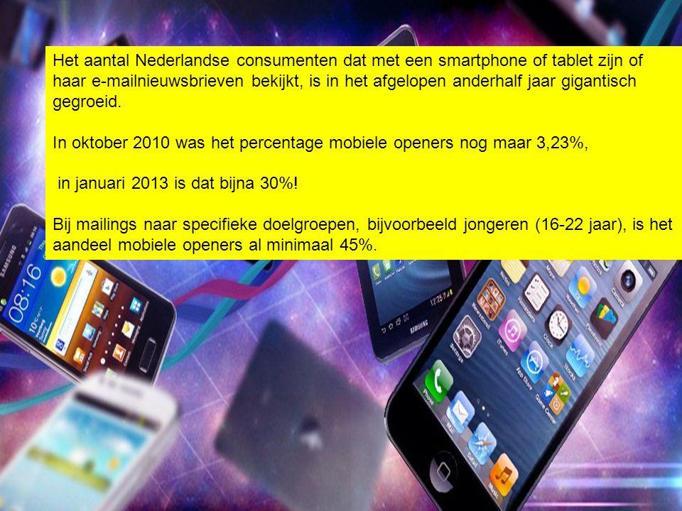 Het aantal Nederlandse consumenten dat met een smartphone of tablet zijn of haar e-mailnieuwsbrieven bekijkt, is in het afgelopen anderhalf jaar gigantisch gegroeid.