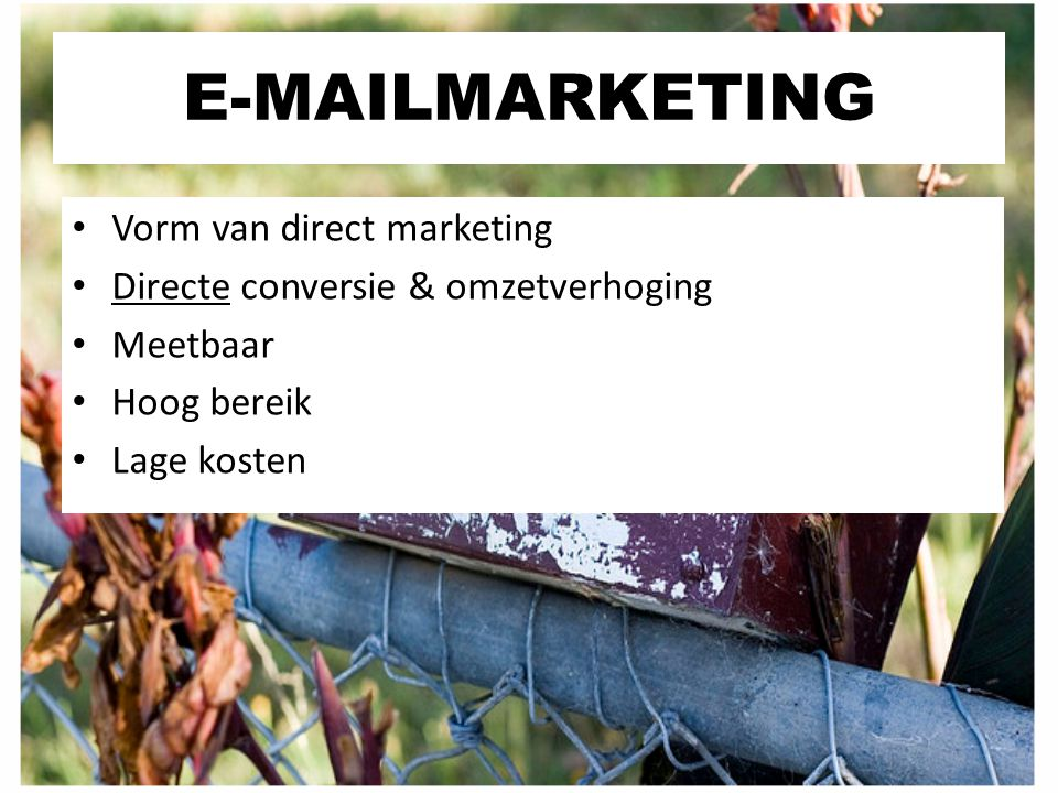 E-MAILMARKETING Vorm van direct marketing