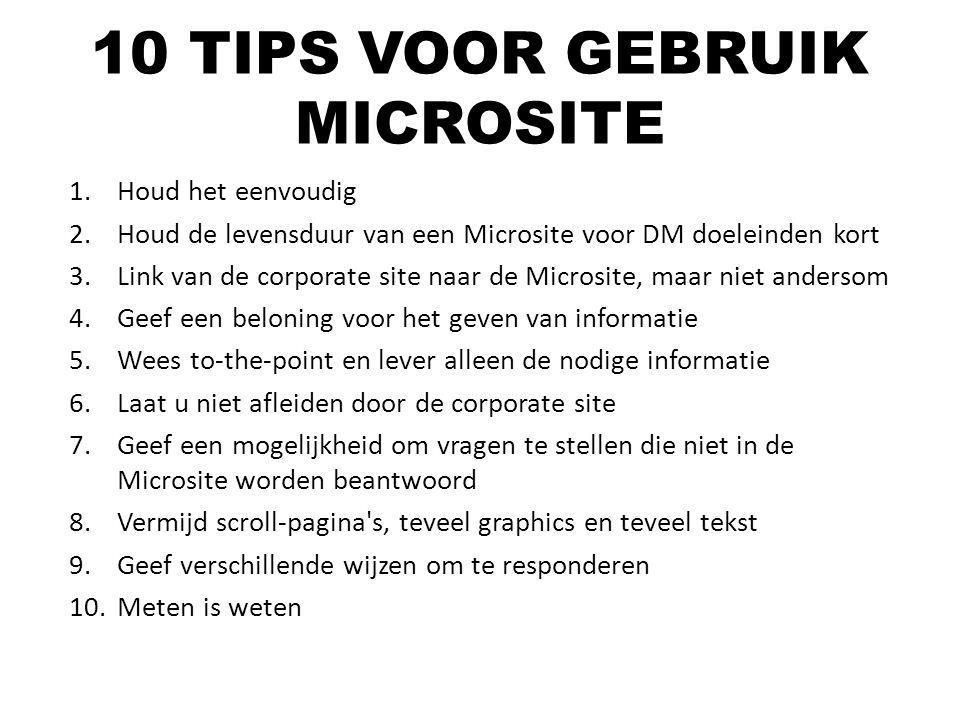 10 TIPS VOOR GEBRUIK MICROSITE