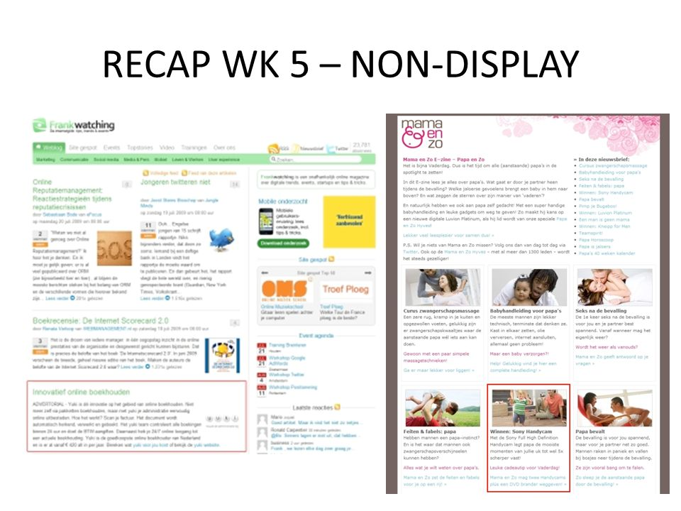RECAP WK 5 – NON-DISPLAY NON-DISPLAY Advertorials Nieuwsbrief