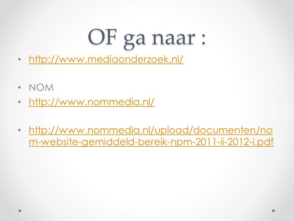 OF ga naar : http://www.mediaonderzoek.nl/ NOM http://www.nommedia.nl/