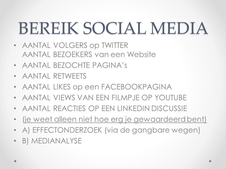 BEREIK SOCIAL MEDIA AANTAL VOLGERS op TWITTER AANTAL BEZOEKERS van een Website. AANTAL BEZOCHTE PAGINA's.