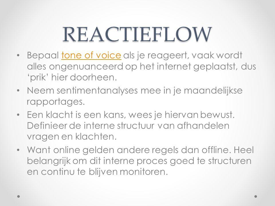 REACTIEFLOW Bepaal tone of voice als je reageert, vaak wordt alles ongenuanceerd op het internet geplaatst, dus 'prik' hier doorheen.