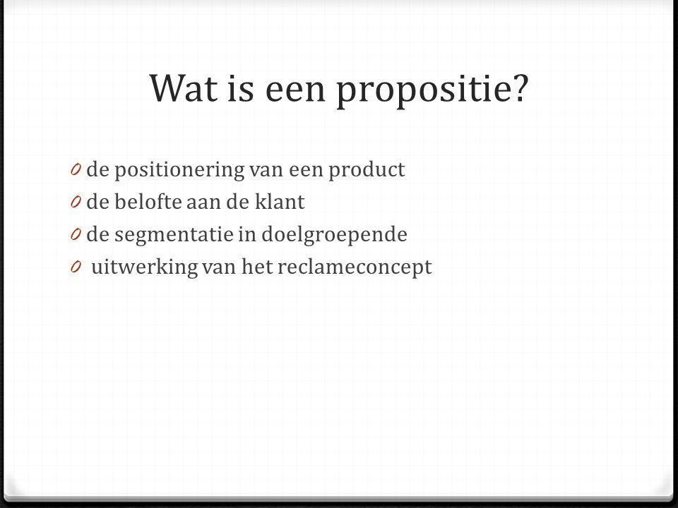 Wat is een propositie de positionering van een product