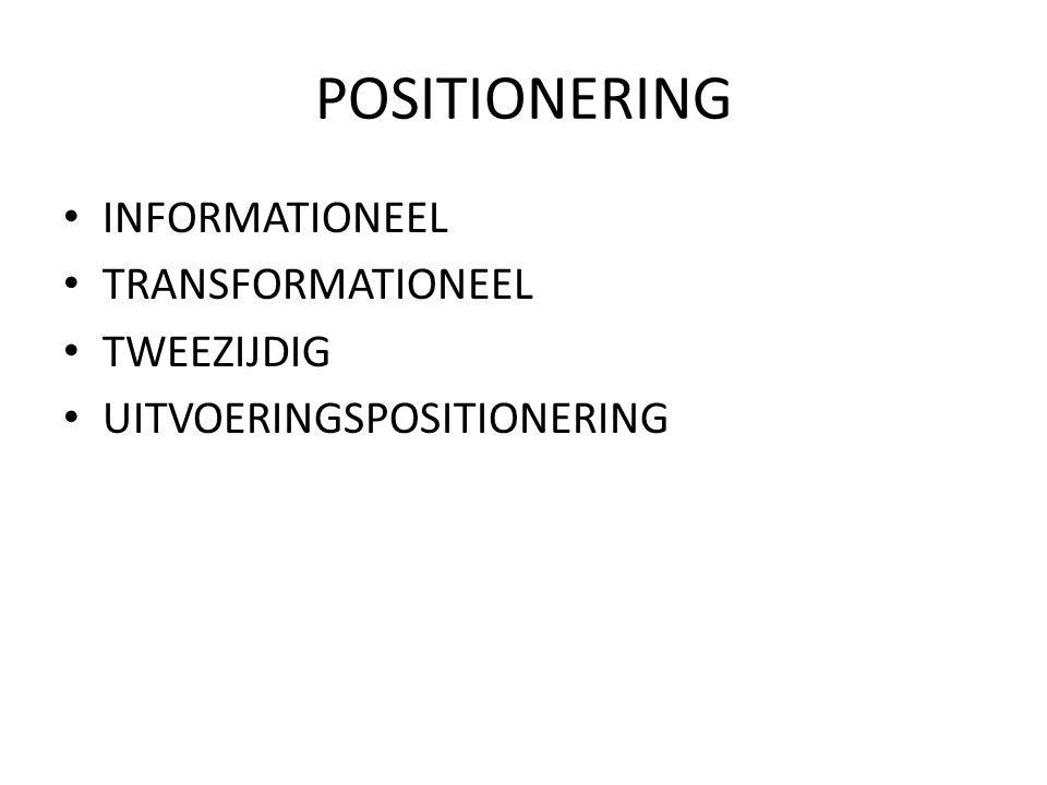 POSITIONERING INFORMATIONEEL TRANSFORMATIONEEL TWEEZIJDIG