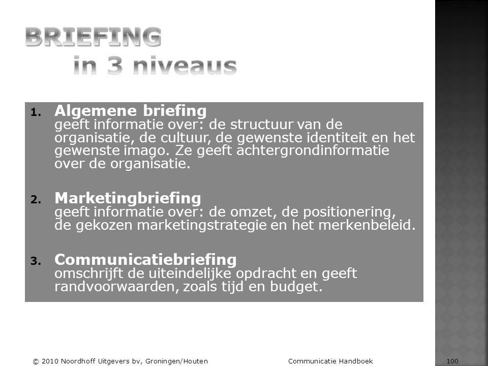 BRIEFING in 3 niveaus