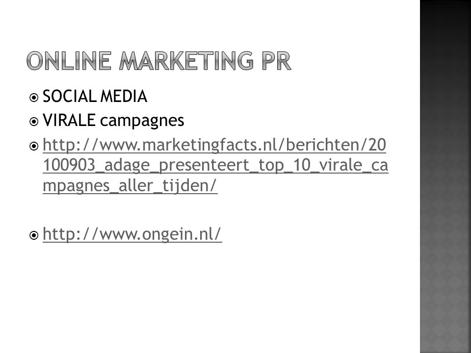 ONLINE MARKETING PR SOCIAL MEDIA VIRALE campagnes