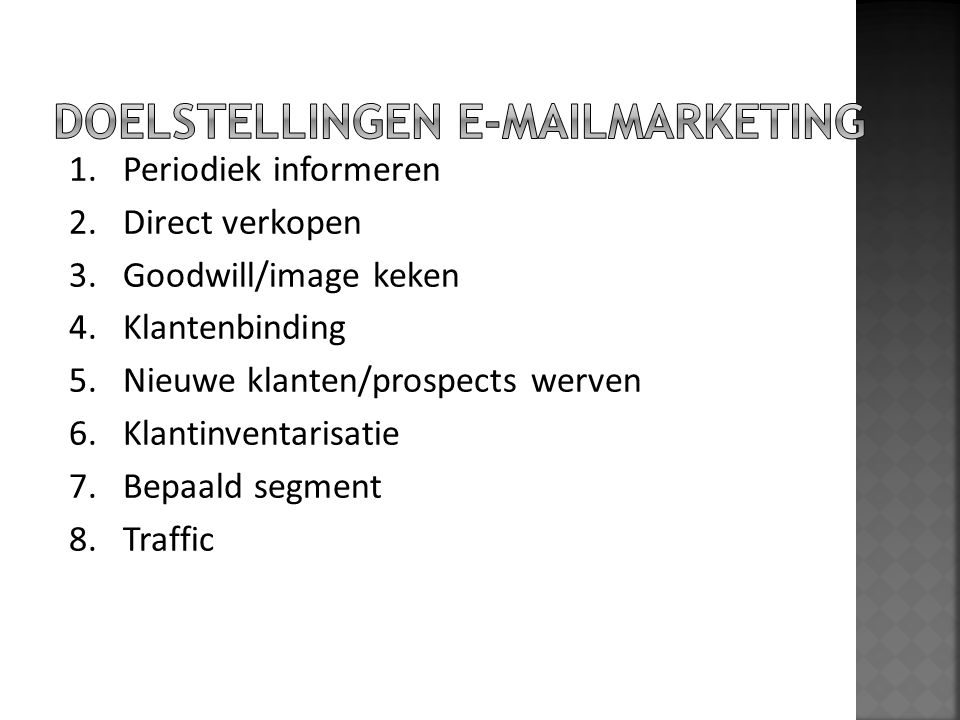 DOELSTELLINGEN E-MAILMARKETING