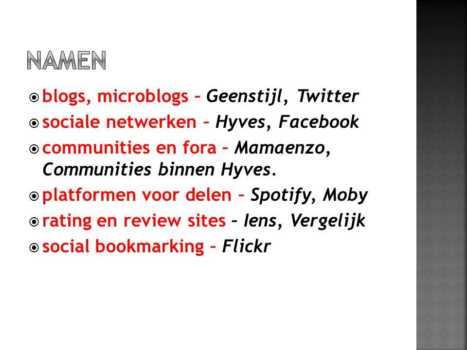 NAMEN blogs, microblogs – Geenstijl, Twitter