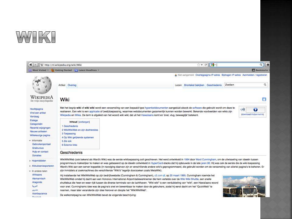 WIKI Wiki is een goed voorbeeld van social media waarbij het leren voorop staat.