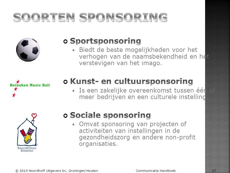 Soorten sponsoring Sportsponsoring Kunst- en cultuursponsoring