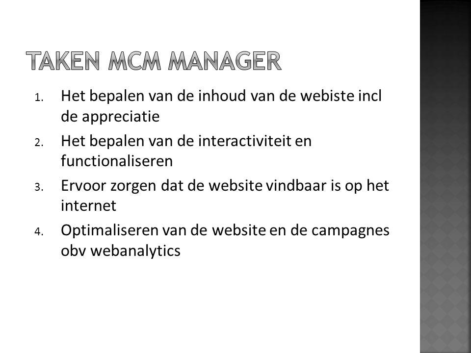 TAKEN MCM manager Het bepalen van de inhoud van de webiste incl de appreciatie. Het bepalen van de interactiviteit en functionaliseren.