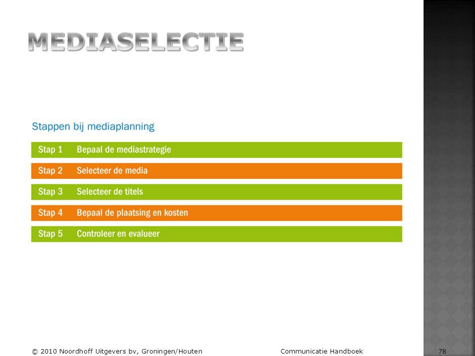 MEDIASELECTIE © 2010 Noordhoff Uitgevers bv, Groningen/Houten Communicatie Handboek 78