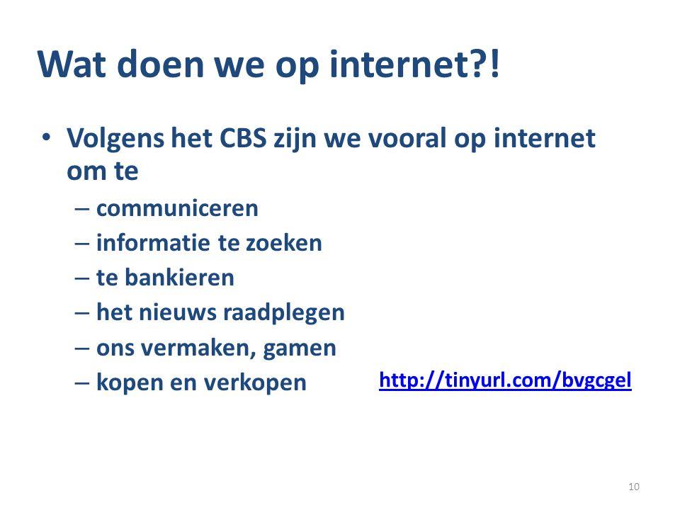 Wat doen we op internet ! Volgens het CBS zijn we vooral op internet om te. communiceren. informatie te zoeken.