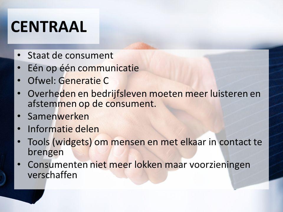 CENTRAAL Staat de consument Eén op één communicatie Ofwel: Generatie C