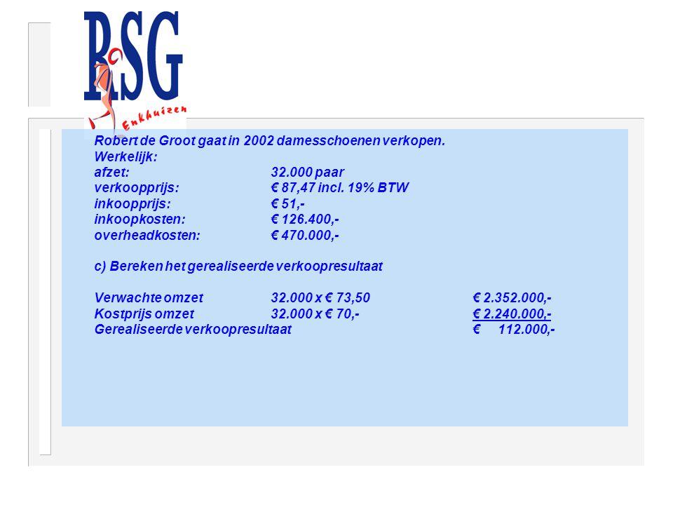 Robert de Groot gaat in 2002 damesschoenen verkopen. Werkelijk: afzet: