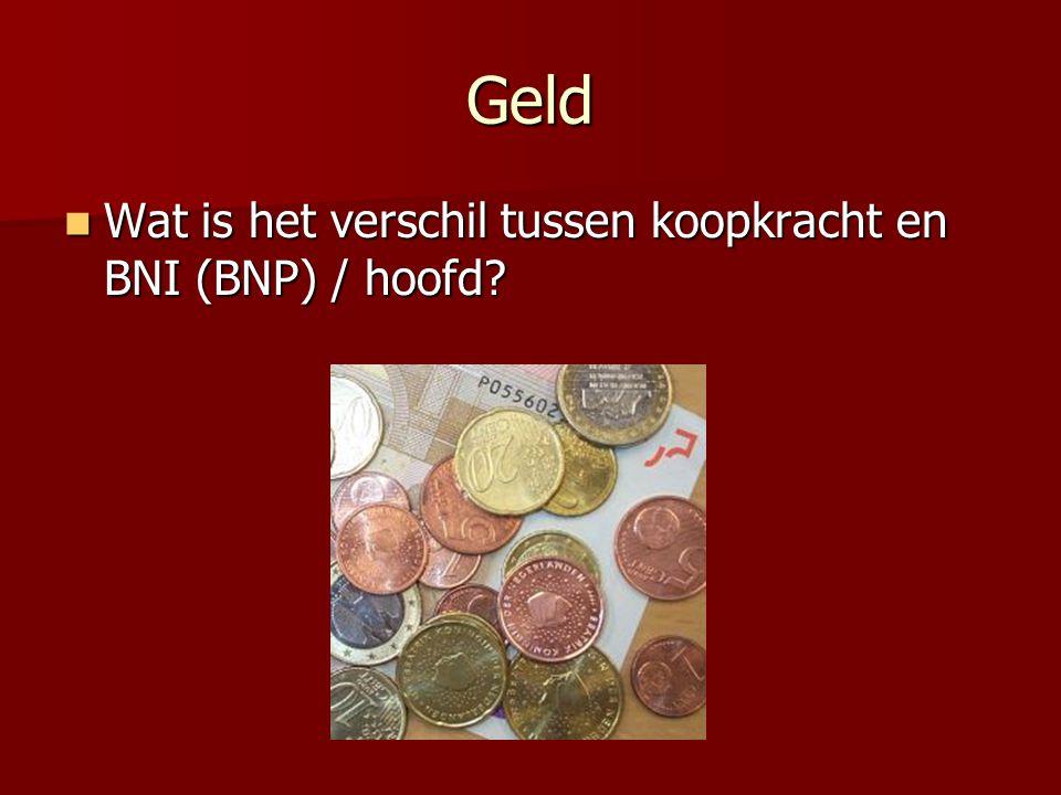 Geld Wat is het verschil tussen koopkracht en BNI (BNP) / hoofd