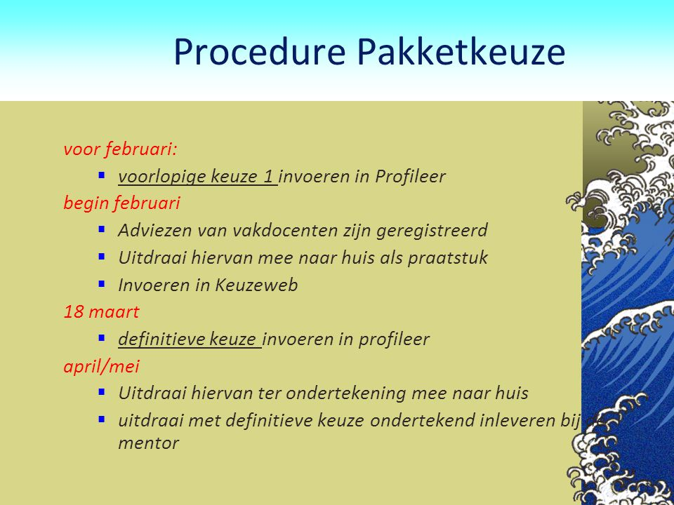 Procedure Pakketkeuze
