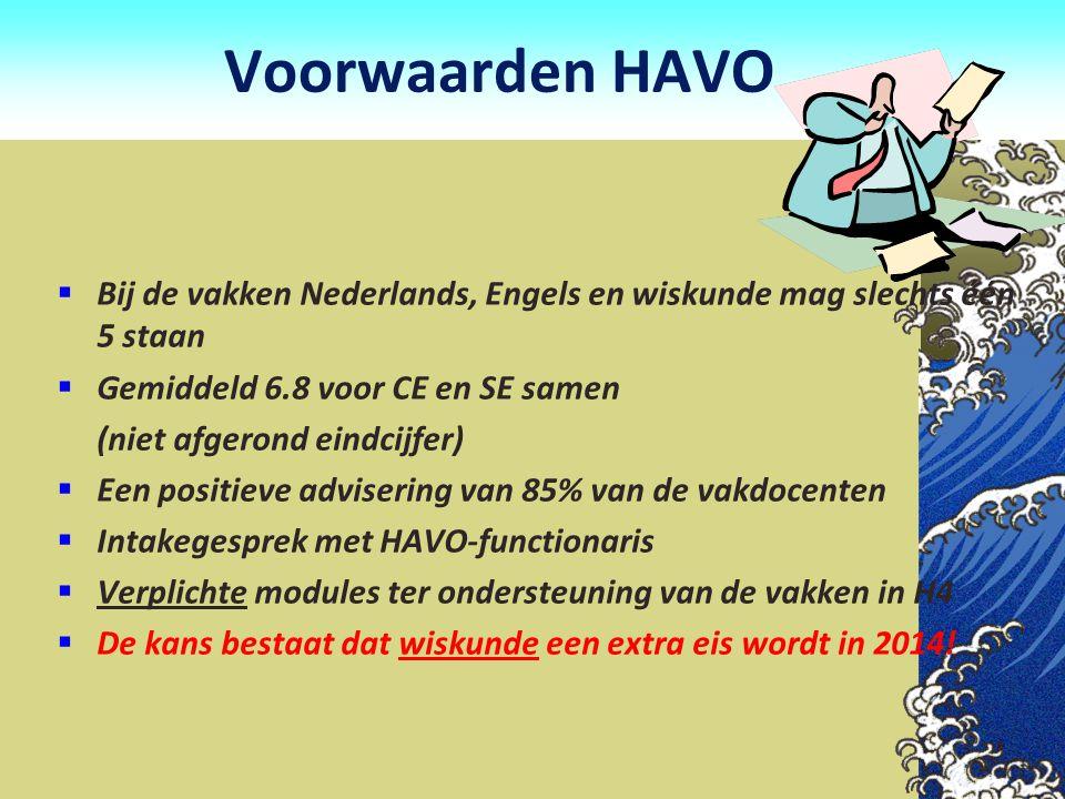 Voorwaarden HAVO Bij de vakken Nederlands, Engels en wiskunde mag slechts één 5 staan. Gemiddeld 6.8 voor CE en SE samen.