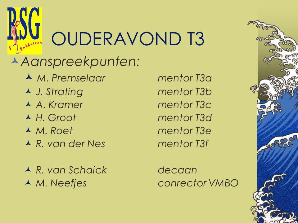 OUDERAVOND T3 Aanspreekpunten: M. Premselaar mentor T3a