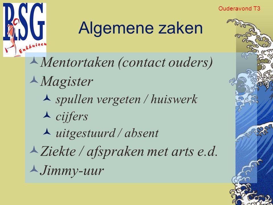 Algemene zaken Mentortaken (contact ouders) Magister
