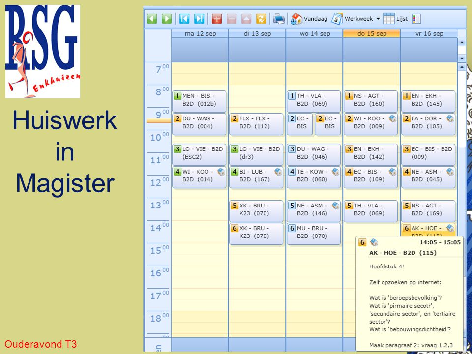 Huiswerk in Magister Ouderavond T3