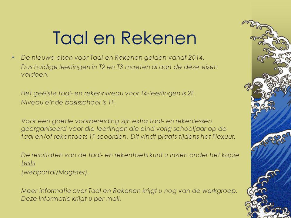Taal en Rekenen De nieuwe eisen voor Taal en Rekenen gelden vanaf 2014. Dus huidige leerlingen in T2 en T3 moeten al aan de deze eisen voldoen.