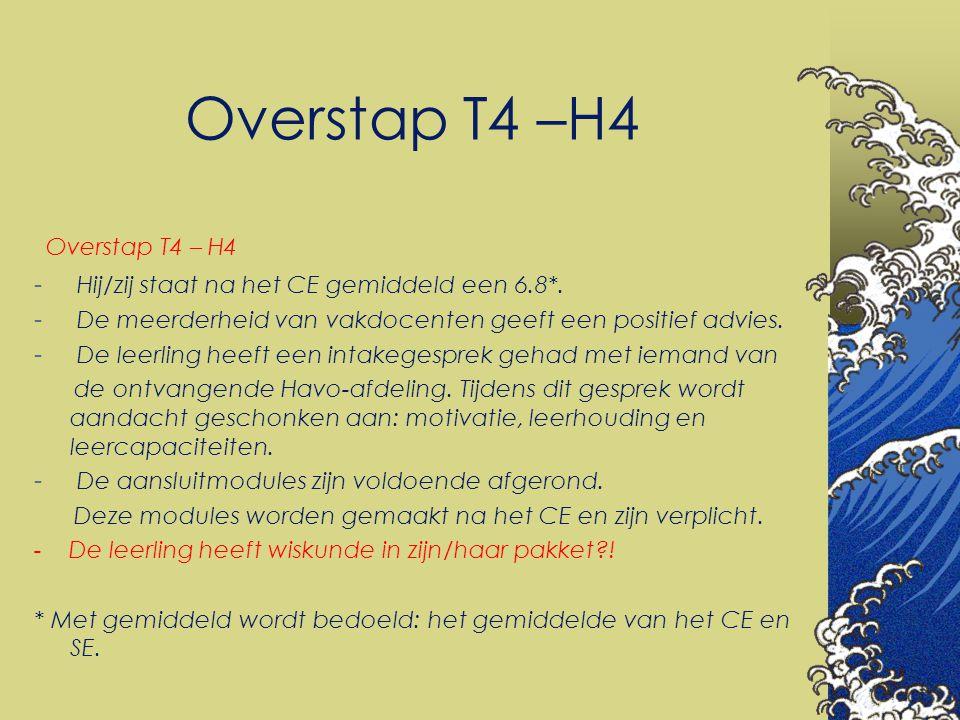Overstap T4 –H4 Overstap T4 – H4