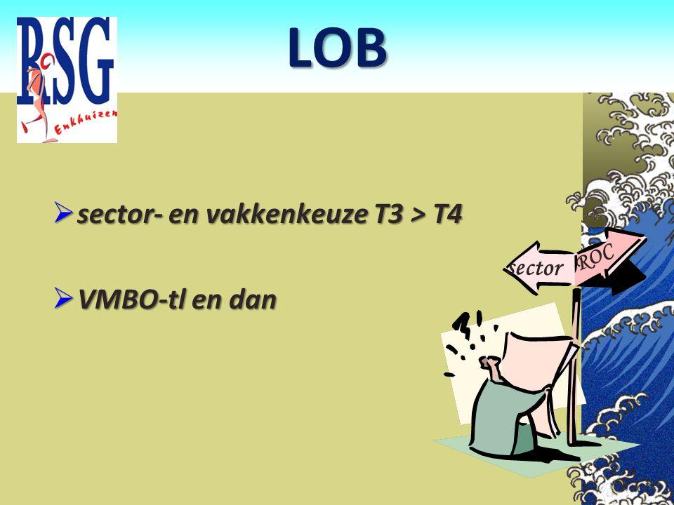 LOB sector- en vakkenkeuze T3 > T4 VMBO-tl en dan sector ROC